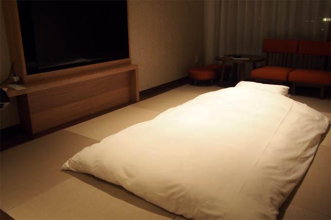 軽井沢マリオット 温泉ビューバス付 プレミアルームの布団