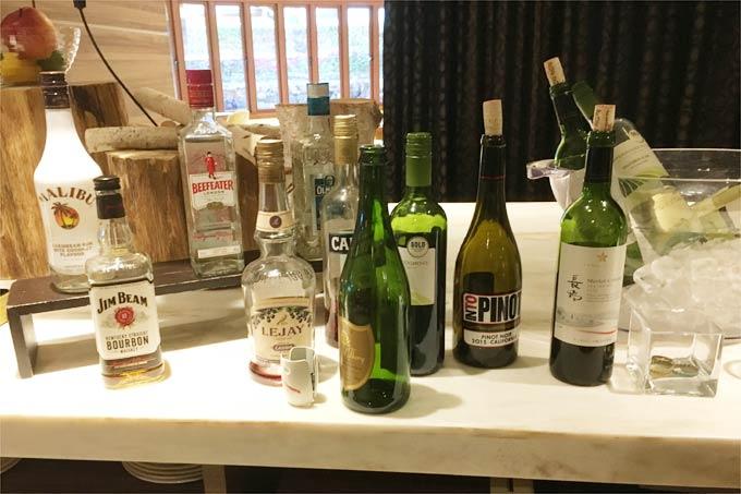 軽井沢マリオットホテルでのゴールド会員特典 カクテルタイムのアルコール類