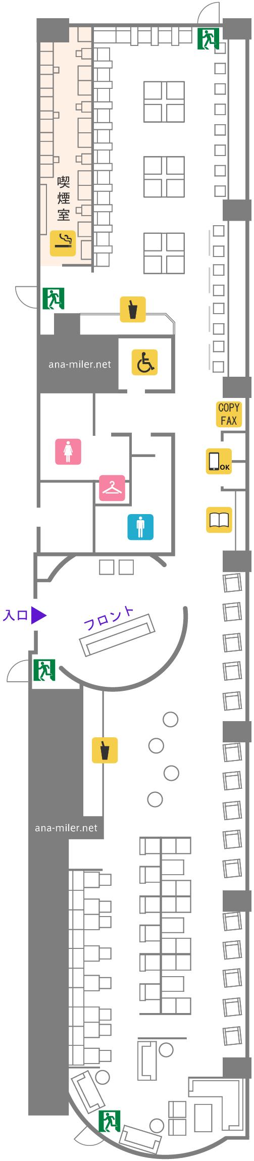 伊丹空港ラウンジオーサカのフロアマップ
