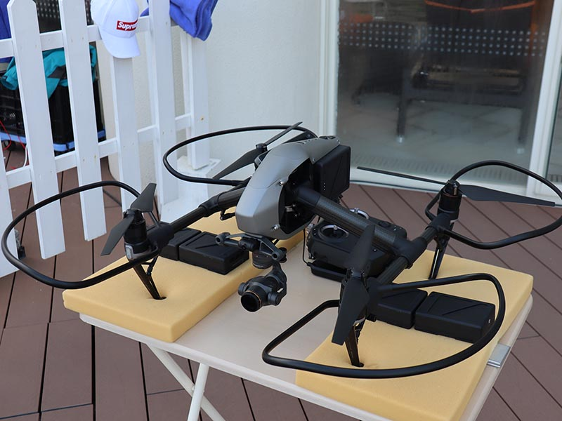 ドローンでの撮影、DJI社のInspire2というプロ用モデル