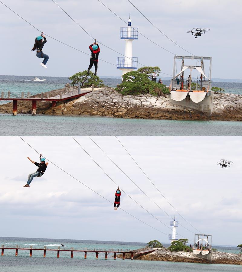 シェラトン沖縄のジップラインドローン撮影