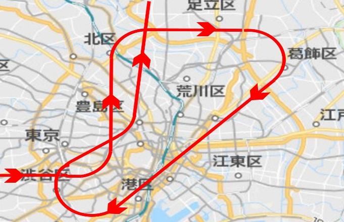 東京パラリンピック当日ブルーインパルス飛行ルート